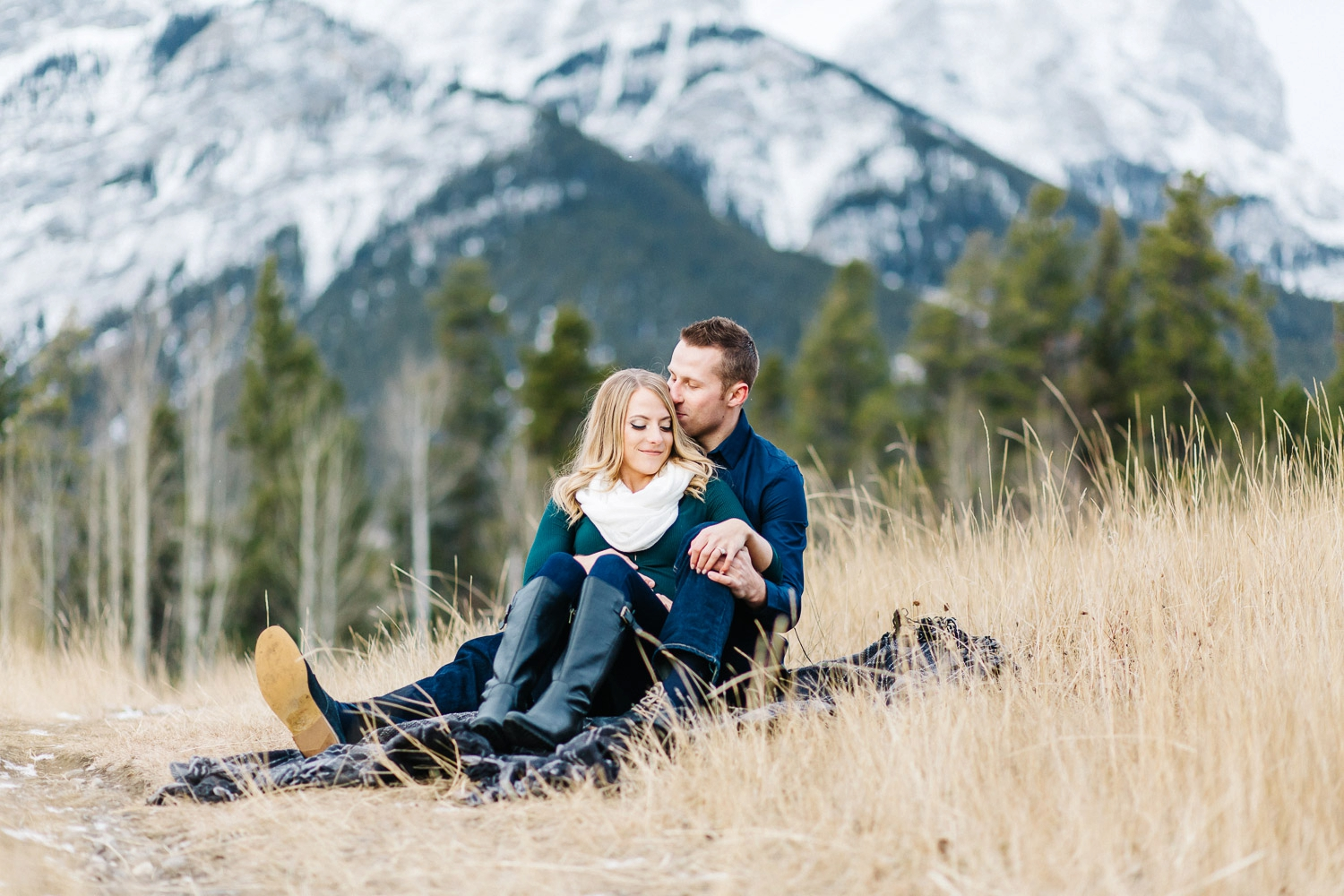 winter engagement session in canmore