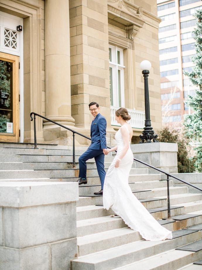 Calgary Elopement photographers - downtown wedding