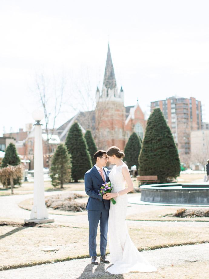 Downtown elopement photographers - calgary wedding