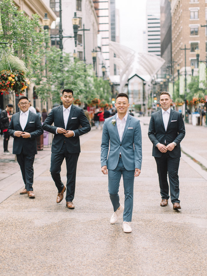Groomsmen downtown - calgary wedding photographers