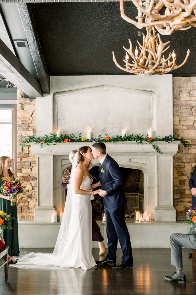 Winter wedding at the lake house